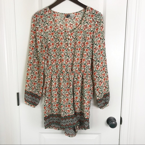 H&M Pants - H&M Divided Floral Bohemian Long Sleeve Romper